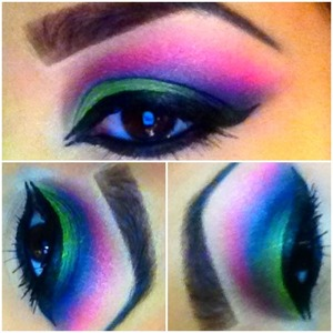 Green, Blue, Purple, & Pink eyeshadow with winged eyeliner.