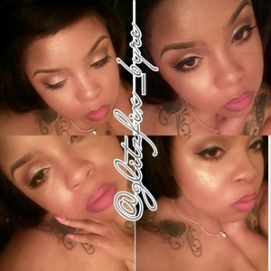 A neutral shimmery look with bright pink lippie <3