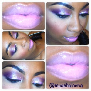 A sparkly pink and purple smokey eye with soft pink lips:)   Follow me on Instagram for more makeup pics @muashaleena