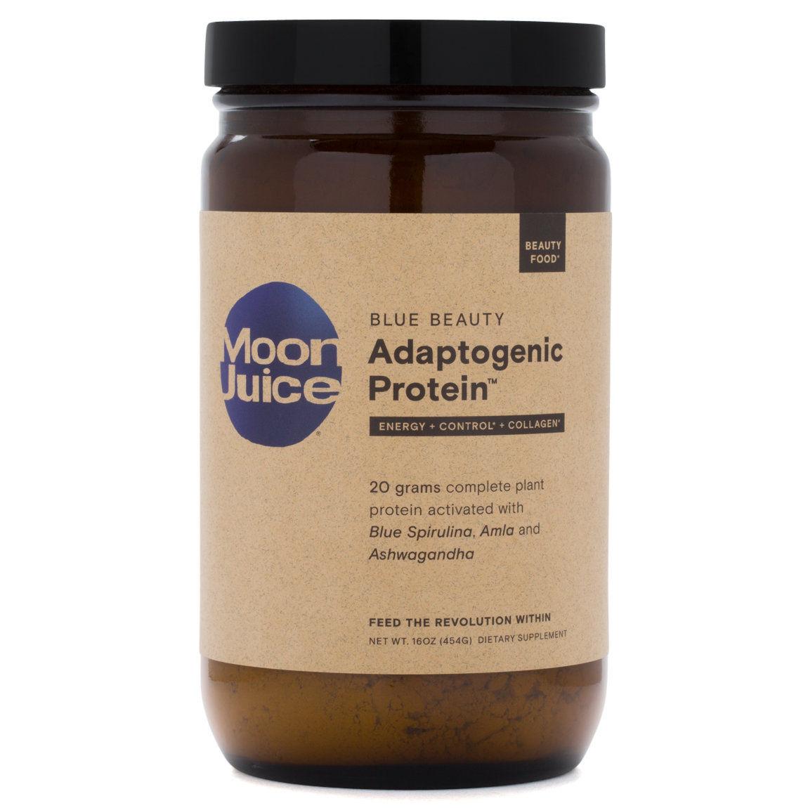 Moon Juice Blue Beauty Adaptogenic Protein product smear.