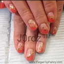 Orange Diagonal French Nails