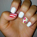 white nails / flowers / red stripes