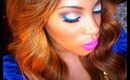 Blue Winged Eyeliner With Pink Neon Lips  Tutorial