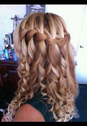 Curly water-fall braid