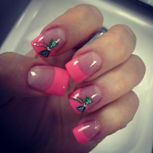 Pink with green bows