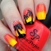 Neon Sunset Silhouette Nails