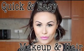 Quick & Easy Makeup & Hair Tutorial | Winged Liner & Bright Lips