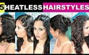 5 Quick & Easy Hairstyles | Heatless Hairstyles | 2016 | ShrutiArjunAnand