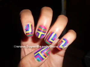 Check out the full tutorial for this nail design on my blog here: http://superbeautyguru.com/colorful-geometric-nail-design-tutorial/