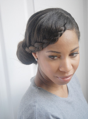 Tutorial on how to wrap a crown braid into a side bun.