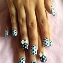 Polka dot acrylics with bows