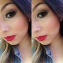 Brown smokey eye red lips