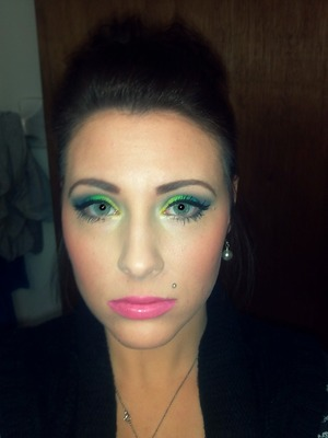 Makeup of the day- Golden yellow, green, and blue with w/ NYX Narcissus lipstick