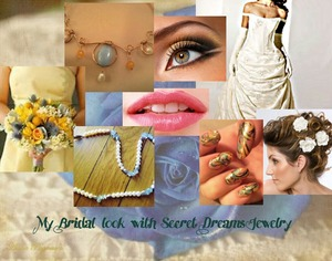 This is a collage of a entire look for  wedding, including jewelry and make up.