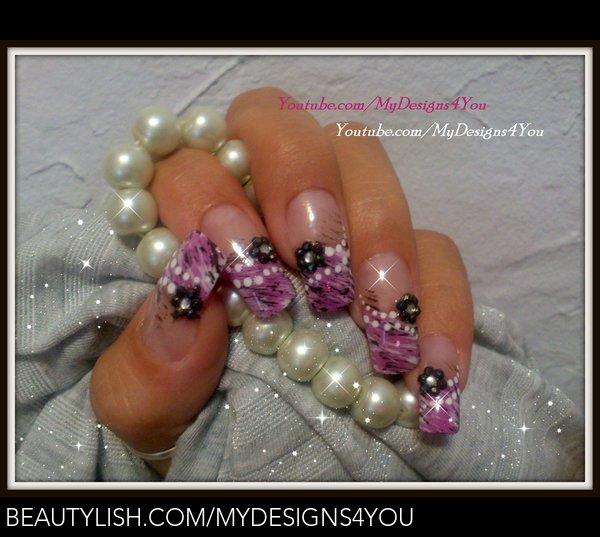 Fan Brush Nail Art Design Lavender Camouflage Liudmila Zs