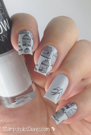 http://stampoholicsdiaries.com/2015/02/12/bird-nails-with-maybelline-grey-beats-and-messy-mansion-mm14/