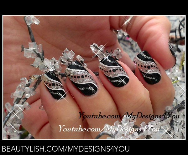 Super Easy New Years Nail Art Black And Silver Party Nails