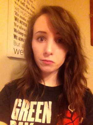 No makeup. Hair isn't done...