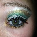 Gold, Green, and Silver Cut Crease