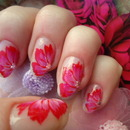 Flower Nailart with one-stroke tecnic.