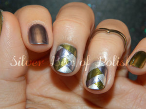Fishtail braid nail art in metallic colors.