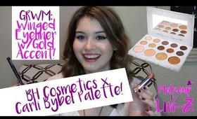 BH Cosmetics & Carli Bybel Eyeshadow Palette Makeup Tutorial - Winged Liner w/ Gold Accent!