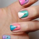 Pastel Studded Chevron Nails