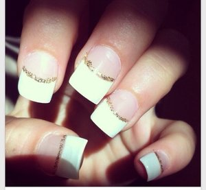 I Would Do Something Simple Like This A French Tip With Gold Glitter Line Right Underneath