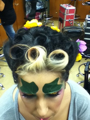 top view, pin curls i did only the hair