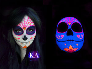 Tutorial: https://www.youtube.com/watch?v=WnPQmq4Edi8  You all probably know how much I love black light makeup. That mixed with Halloween is 1000x better! So here's my black light sugar skull.