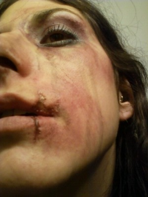 Not really. I sat for an injury simulation. Make-up by my incredibly talented boyfriend, Matt.