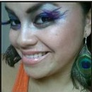 Peacock Design w/ purple feather lashes