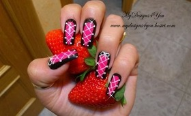 Hot Pink & Black Corset Nail Art Design Tutorial - ♥ MyDesigns4You ♥