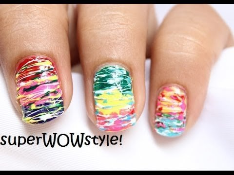 Spun Sugar No Tools Easy Nail Art Without Tools Beginners Toothpick Nail Designs