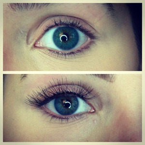 I used individual false lashes with Kiss LashTite Adhesive (said to last 2-4 weeks) Top photo is my eye without the lashes, bottom one is about 8 lashes glued on