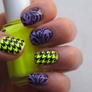 Neon Houndstooth and Purple Swirls