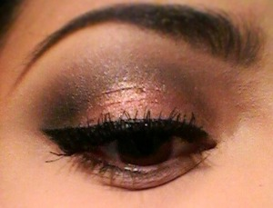 The black I used is from a profusion pallet I had but never used. I was surprised when the color pay off was actually decent and the pinky color is from maybellines eye studio plush 'Copper Chic' (: