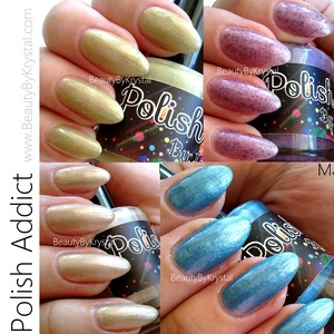Review & Swatch of Polish Addict - The Magic Pearl Collection READ MORE: http://www.beautybykrystal.com/2013/04/polish-addict-magic-pearl-collection.html
