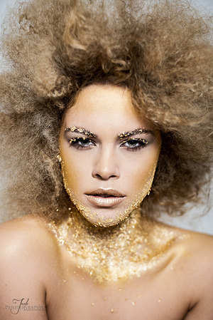 Gold Leaf make up by Lo Dias Pin Frizzed Afro by me