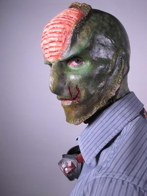 Full face into neck prosthetic.