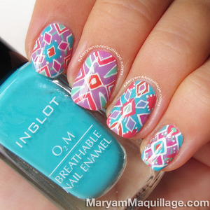 DETAILS: http://www.maryammaquillage.com/2013/07/summer-kaleidoscope-hand-painted-nail.html