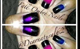 #117 Fall Ombre / Gradient Nails in Jewel Tone Colors