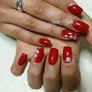 Red Nails/Flower/Nail Art/Nails