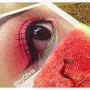 Watermelon-Inspired Eye Makeup