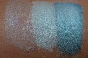 Frozen in Time Swatch with no base, white shadow base and black shadow base from the companies website.