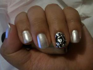 Pearly White Nails with Black Design and Rhinestones