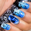 Geometric Nail Art with Blue Gradient and Chunky Glitter