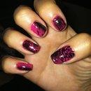 Pink & black splatter roses