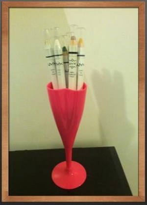 This is a cute inexpensive plastic pink heart shaped champagne glass that I use to store my NYX Jumbo pencils.