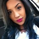 Blue hair, pink lip(MACs Flat Out Fabulous)